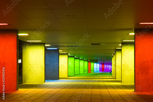 Fototapeta European Scenic Destinations. Tunnel of Changing Light In Rotterdam in The Netherlands. Horizontal Image Composition obraz na płótnie