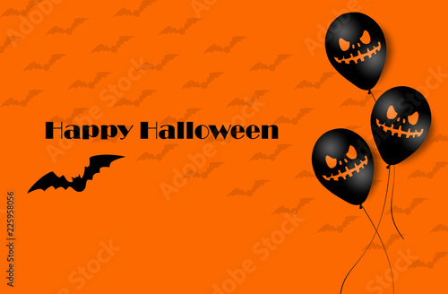 Keuken foto achterwand Halloween Halloween Banner with Halloween Ghost Balloons. Scary air balloons. Illustration. Pattern