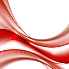 Red Color Waves On White Background Vector Illustration