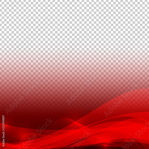 Wave Elements Red Color Abstract Vector With Transparent