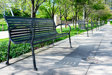 Row Of Benches In A Chicago Park