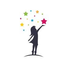 A Child Take A Star Logo Design Vector Emblem Design Concept Creative Symbol Icon