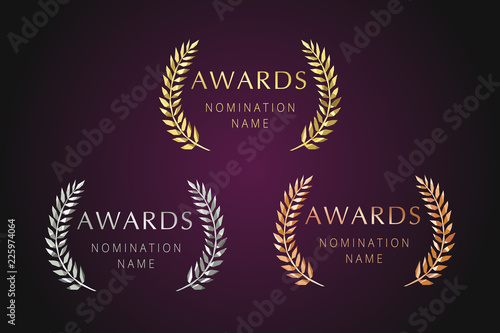 Awards logotype set. Isolated elegant abstract nominee emblem. First 1st, second, 3d place symbol. Luxurious congratulating framed template. Celebrating decorative traditional stained glass greetings.