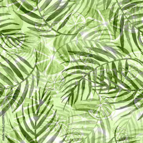 akwarela-streszczenie-bezszwowe-tlo-wzor-miejsce-odrobina-farby-zmaza-kolor-zielone-liscie-drzewa-palmy-abstrakcyjne-owoce-cytrusy
