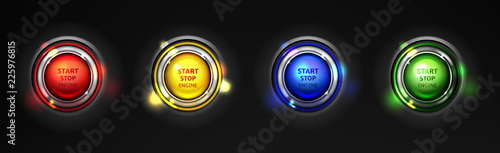 Carta da parati Set of car engine start, stop colorful buttons realistic 3d vector isolated on black background