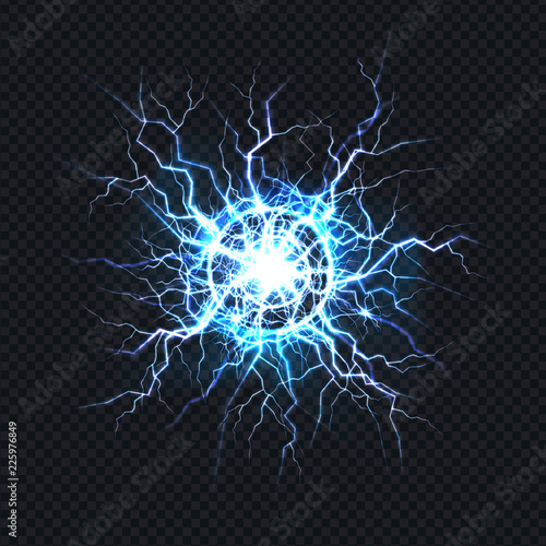 Fotomural Powerful electrical discharge, lightning strike impact place realistic vector on transparent background