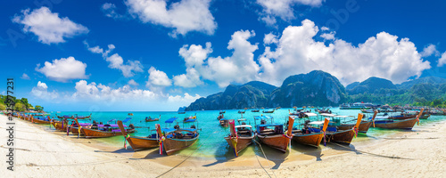 Traditional thai boat on Phi Phi Don Wallpaper Mural