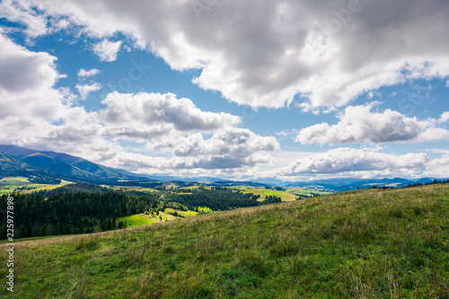 Fotobehang Wit wonderful mountainous countryside in early autumn. beautiful sky. exploration and adventure concept