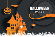 Halloween Party Invitations And Greeting Cards. Paper Art Background.