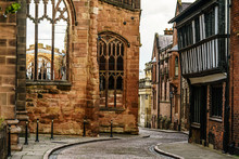 Old English Architecture Street In Coventry, Destroyed Cathedral From Second World War