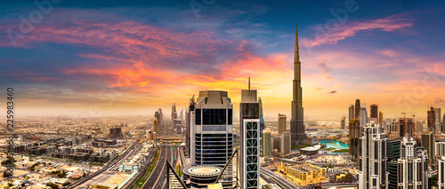 Canvas Aerial view of downtown Dubai
