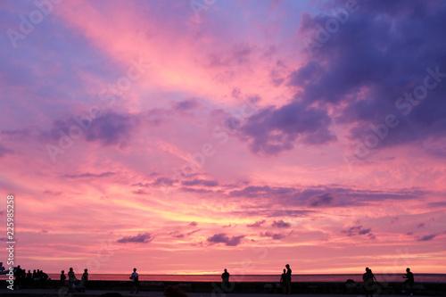 In de dag Candy roze breakwater (malecon) on sunset in Habana city, Cuba, straits of florida
