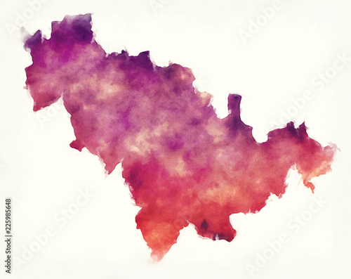 Jilin province watercolor map of China in front of a white background