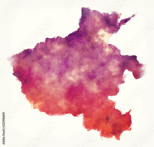 Henan province watercolor map of China in front of a white background