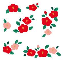 Camellia Flower Illustration Set