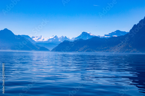 Poster Lac / Etang view of the beatiful lake lucerne switzerland europe calm peaceful summer sunny day