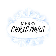 Merry Christmas Greeting Card Background Template With Snowflakes And Snow.