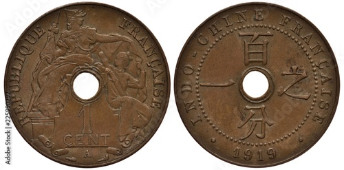 Fototapeta  French Indochina coin 1 one centime 1919, allegorical female France covers femal