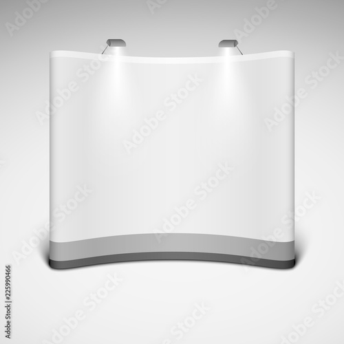 Trade Exhibition Stand Vector : Blank wide trade exhibition stand on a white background mock up