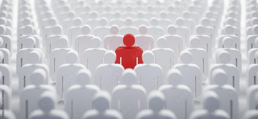 Fototapety, obrazy: Rotes Individuum in der Menge - Konzept Leadership und Excellence
