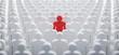 Leinwanddruck Bild - Rotes Individuum in der Menge - Konzept Leadership und Excellence