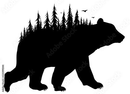 Vászonkép Silhouette of bear with forest.