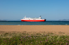 Red Ferryboat And Beach In Raf...