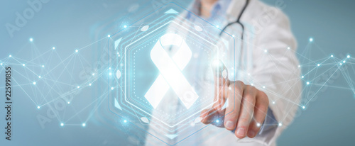Doctor using digital ribbon cancer interface 3D rendering Canvas Print