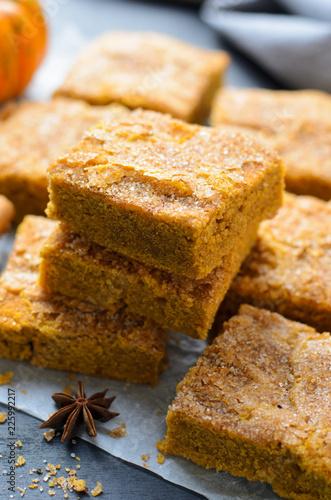 Photo Pumpkin Bars with Cinnamon Sugar Crust, Freshly Baked Pumpkin Blondies