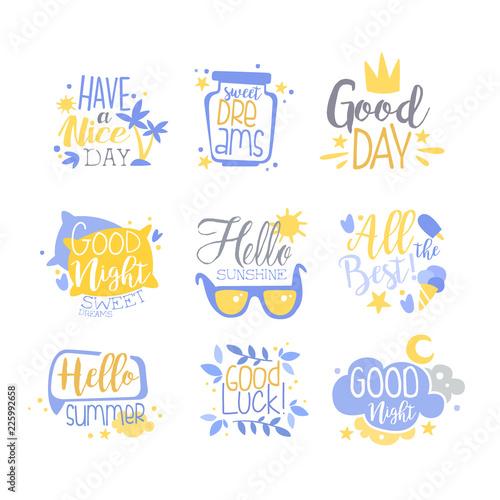 Positive Quotes Set Hand Wriiten Lettering Inspirational Stunning Motivational Slogans