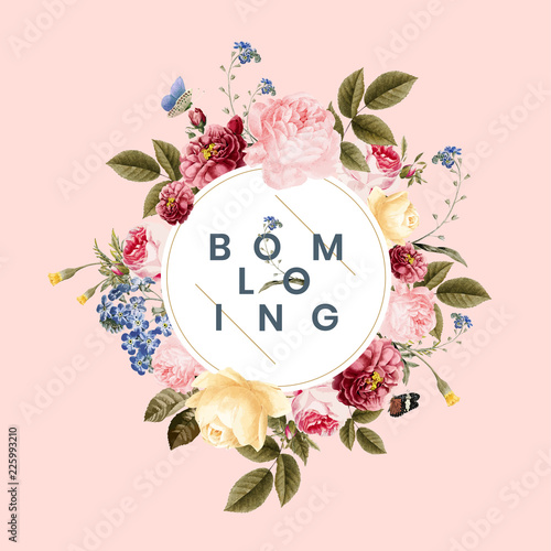 Blooming floral frame card illustration Wall mural