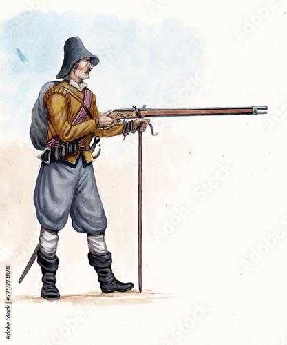 Obraz na plátně Musketeer illustration. Thirty years war. Uniform illustration.