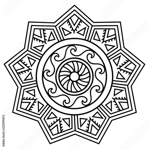 f6fa42768 Circular pattern in form of mandala. Traditional ornaments of Maori people  for tattoo - Moko style. Vintage decorative tribal border from elements of  ...
