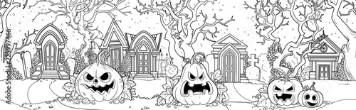 Seamless background from scary old cemetery with Halloween pumpkins outlined for coloring page