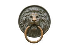 Exterior Design Element. Metal Lion Doorknob Isolated On White