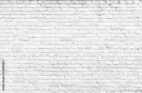Poster Brick wall Texture background concept: white brick wall background in rural room