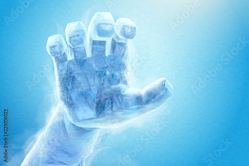 Photo  Frozen hand stretching in the air
