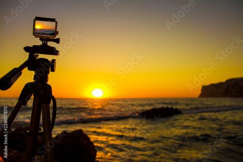 """Obraz na plátně  Action camera capturing a sunrise on """"Las Rotas"""" beach in Denia, Spain"""