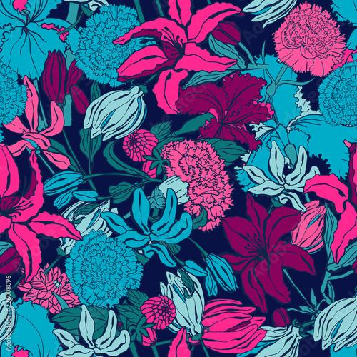 Wzór z lilii, ylang, róże, kwiaty goździka. Ilustracja wektorowa kolorowe. Druk na tekstylia domowe i odzież, tkaniny, tekstylia