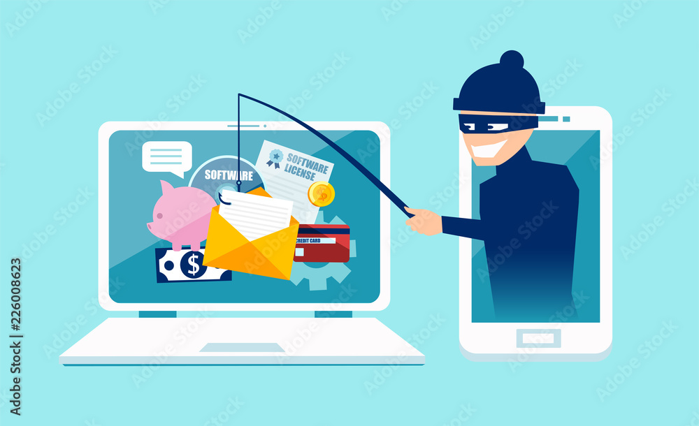 Fototapeta Vector concept of phishing scam, hacker attack and web security