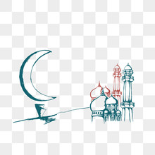 Mosque Vector With Moon Drawing
