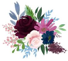 Watercolor Flora Bohemian Vint...