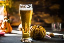 Glass Of Golden Beer On Dark, ...