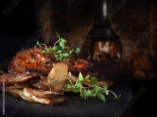 Foto op Aluminium Buffet, Bar Pan Fried Pork Steak