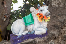 Cow Sculpture At Kandasamy (Koneswaram) Temple In Trincomalee, Sri Lanka
