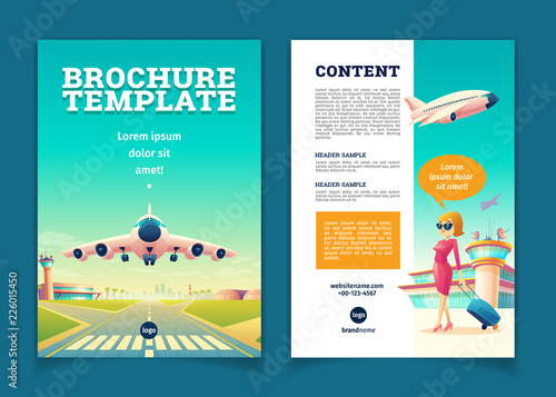 Tourism Brochure Template | Vector Brochure Template With Airplane Takeoff Travel Or Tourism
