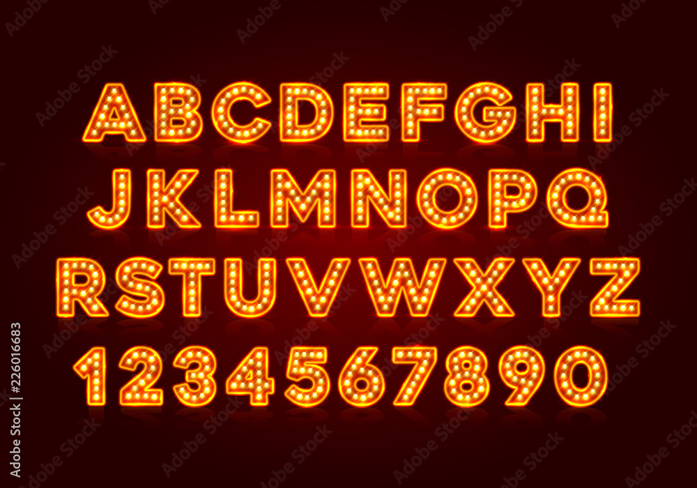 Fototapety, obrazy: Red fluorescent neon font on dark background. Nightlight alphabet. Vector illustration.