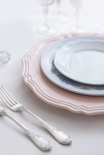 Silver Silverware. Devices For Eating. View From Above. Salt For Salt From Crystal. Knife And Fork. White, Pink, Blue Plate.