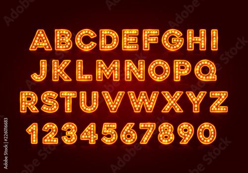 Carta da parati Red fluorescent neon font on dark background