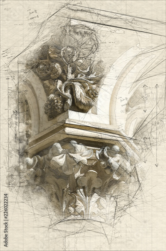 Column Capital Canvas Print